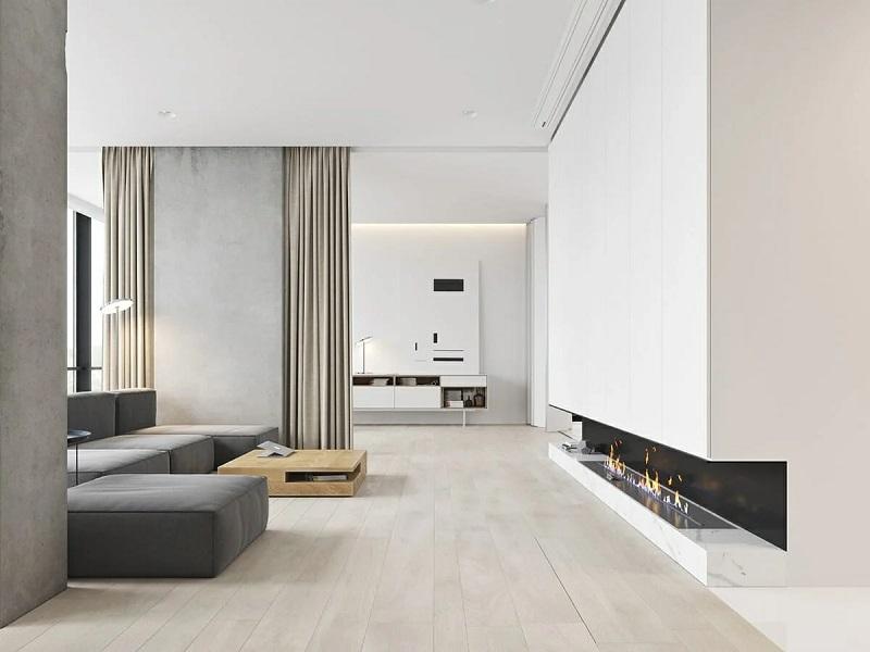 Madeira e concreto aparecem no minimalismo.
