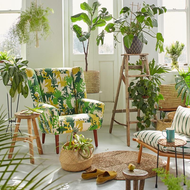 Sala de estar decorada sob o estilo Urban Jungle