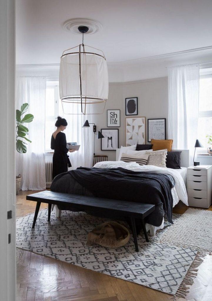 Decoração escandinava paleta de cores azul branca e preta