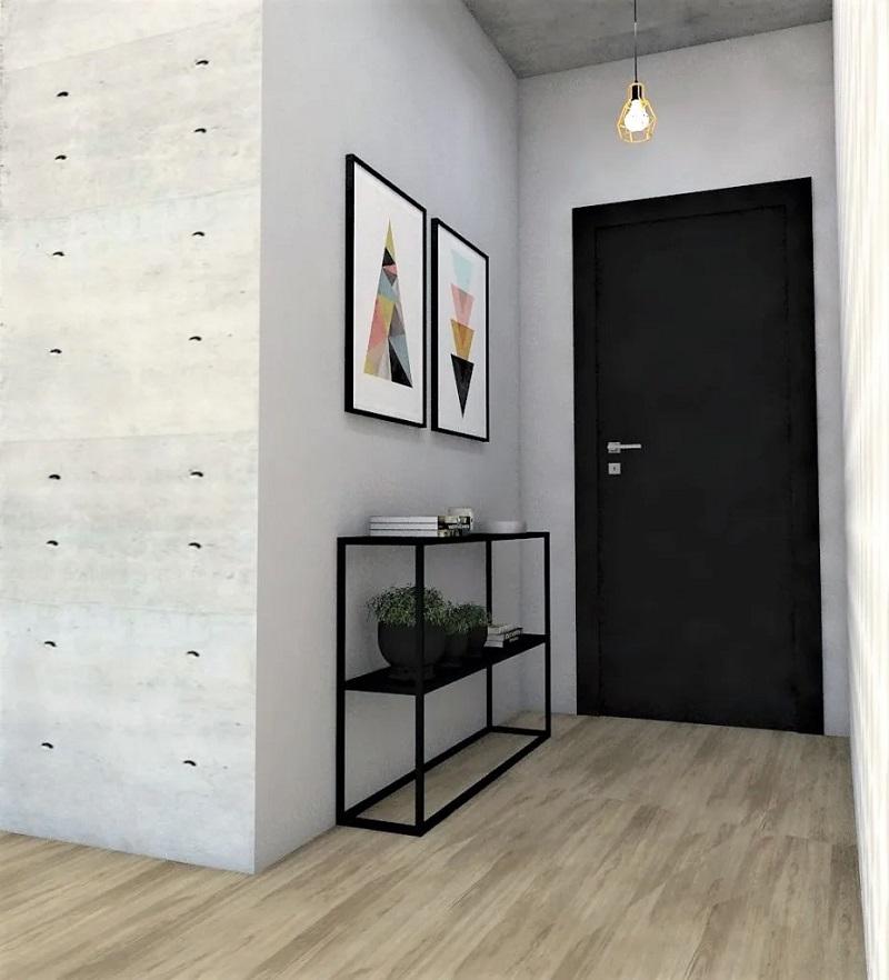 Hall de entrada minimalista com luminária suspensa