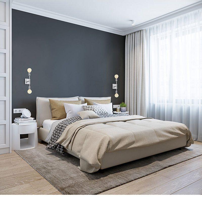 Este quarto de casal com pé direito mais alto apostou numa paleta de cores mais escuras