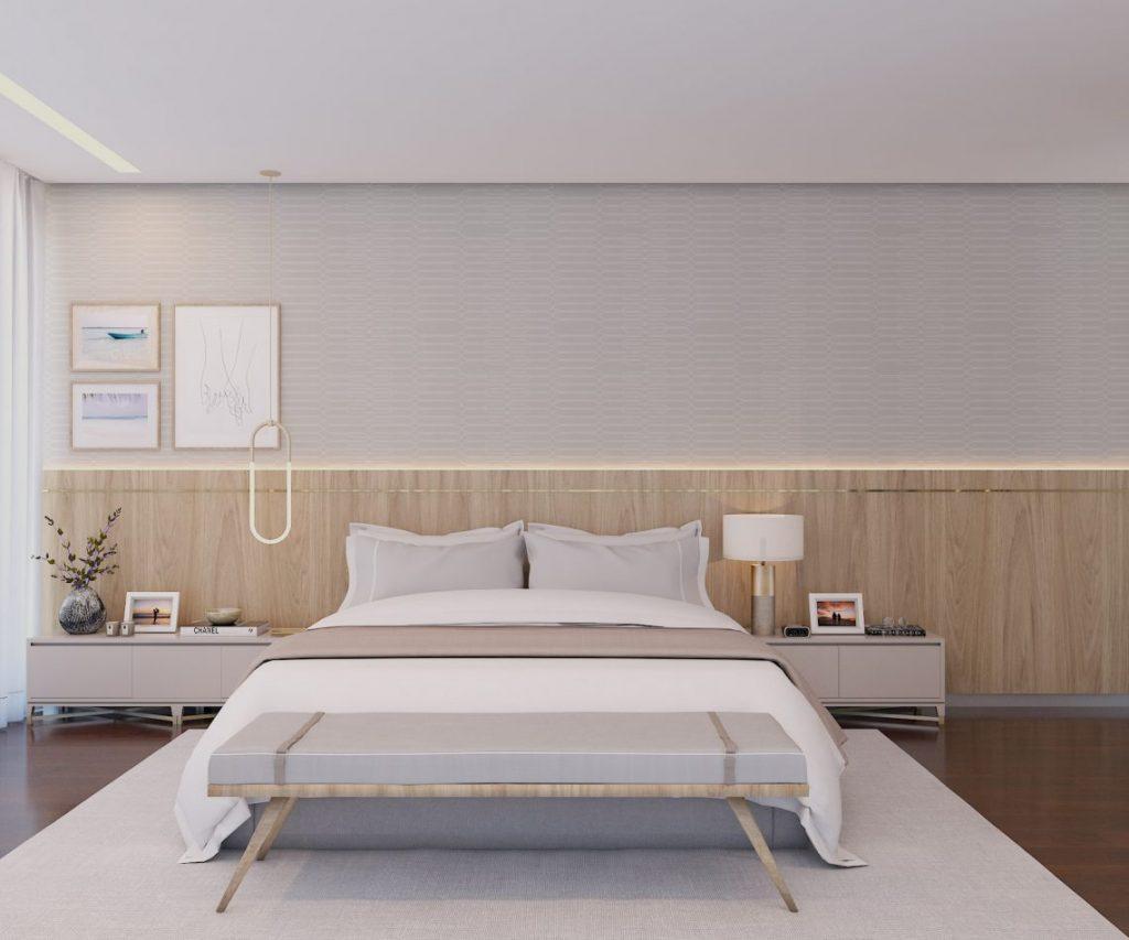 Investir num grande painel de madeira na cabeceira traz elegancia ao quarto de casal